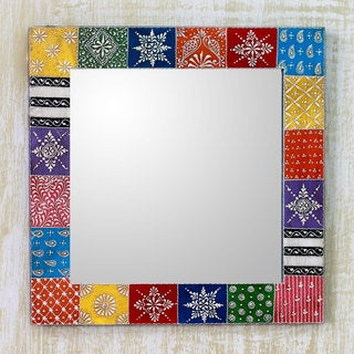 Handcrafted 'Happy Colors' Wall Mirror (India)