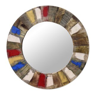 Handcrafted Mango Wood 'Ancient Legacy' Wall Mirror (India)