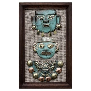 Handcrafted Copper Bronze 'Moche Masks' Wall Art (Peru)