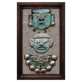 Handcrafted Copper Bronze 'Moche Masks' Wall Art , Handmade in Peru