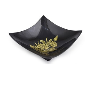Lacquered Mango Wood 'Golden Thai Lotus' Decorative Bowl (Thailand)