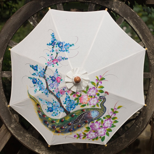 Handcrafted Cotton Bamboo 'Thai Peacock Garden' Parasol (Thailand)
