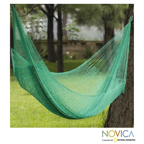 Handcrafted Nylon 'Maya Mint' Hammock (Double) (Mexico)