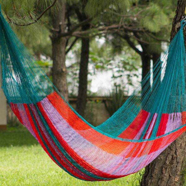 Handcrafted Nylon 'Maya Celebration' Hammock (Double) (Mexico)