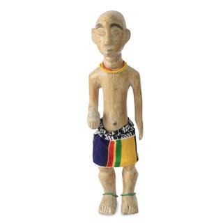 Handcrafted Sese Wood 'Birthday Boy' Sculpture (Ghana)