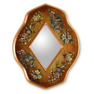 Handcrafted Reverse Painted Glass 'Golden Summer Garden' Mirror (Peru)