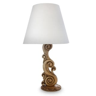 Handcrafted Cedar Wood 'Ocean Waves' Table Lamp (Mexico)