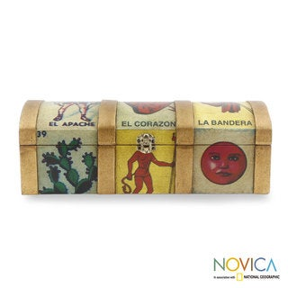 Handcrafted Pinewood Decoupage 'Mexican Lottery Game' Box (Mexico)