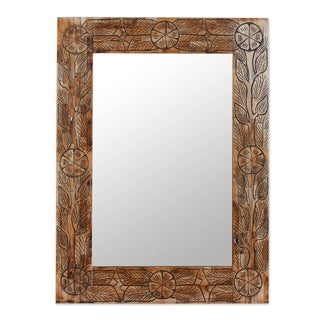 Handcrafted Bone 'Indian Wildflowers' Wall Mirror (India)