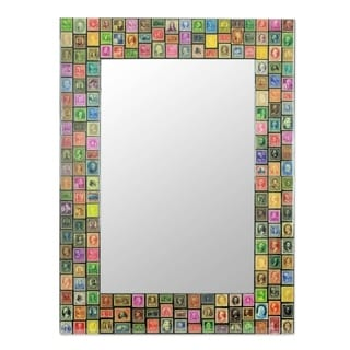 Handcrafted Decoupage 'Stamp Collector' Wall Mirror (India)