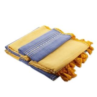 Handcrafted Zapotec Cotton 'Oaxaca Morn' Bedspread (King) (Mexico)