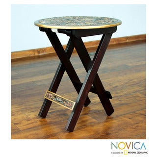 Handcrafted Mohena Wood Leather 'Andean Birds' Folding Table (Peru)