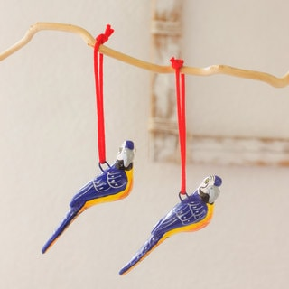 Set of 4 Handcrafted Ceramic 'Blue Macaws' Ornaments (Guatemala)