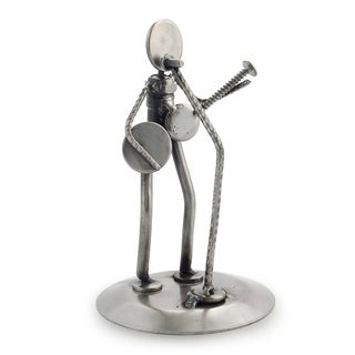 Recycled Metal 'Rustic Folk Singer' Auto Part Sculpture (Mexico)