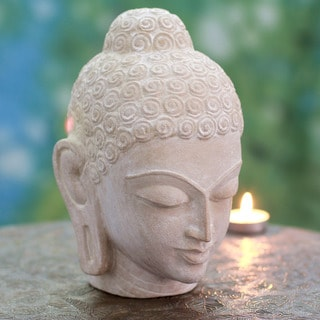 Handcrafted Sandstone 'Tranquil Buddha' Sculpture (India)