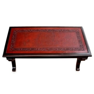 Fern Garland Elegant Brown Hand Tooled Leather and Mohena Wood Statement Coffee Table (Peru)