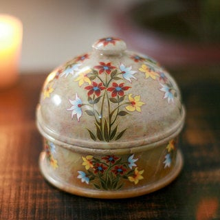 Handcrafted Soapstone 'Floral Kisses' Jar (India)