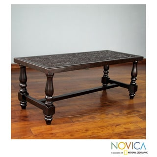 Handcrafted Mohena Wood Leather 'Andean Ferns' Coffee Table (Peru)
