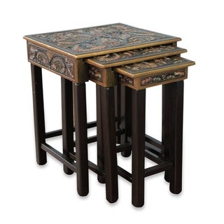 Handmade Tooled Leather Wood Side Tables, Set of 3 (Peru)