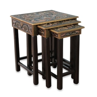 Bird of Paradise Set Of 3 Artisan Handmade Hand Tooled Leather Brown Mohena Wood Home Decor Furniture Accent Side Tables (Peru)