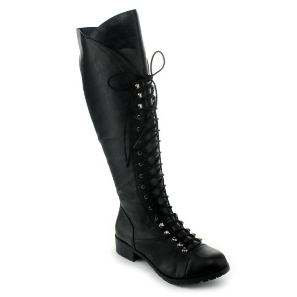 Soda Women's 'Water' Black Lace-up Over-the-Knee Boots