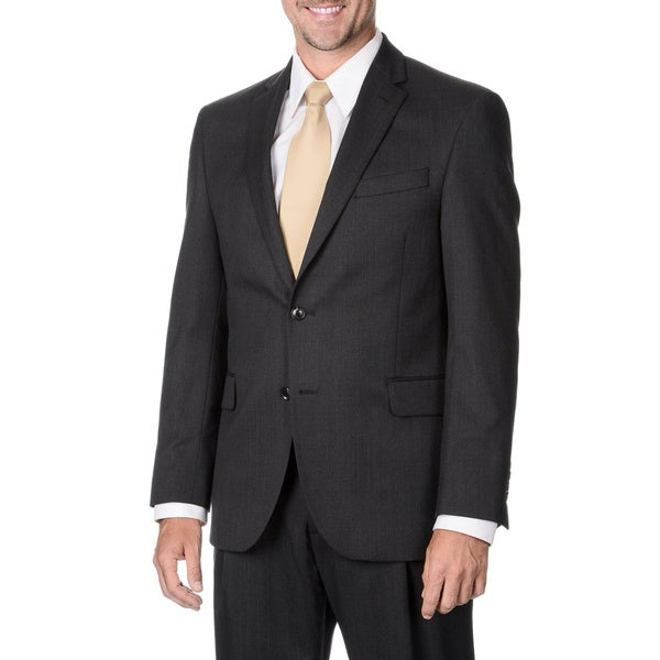 Henry Grethel Men's Charcoal Striped 2-button Suit Separate Wool Blazer