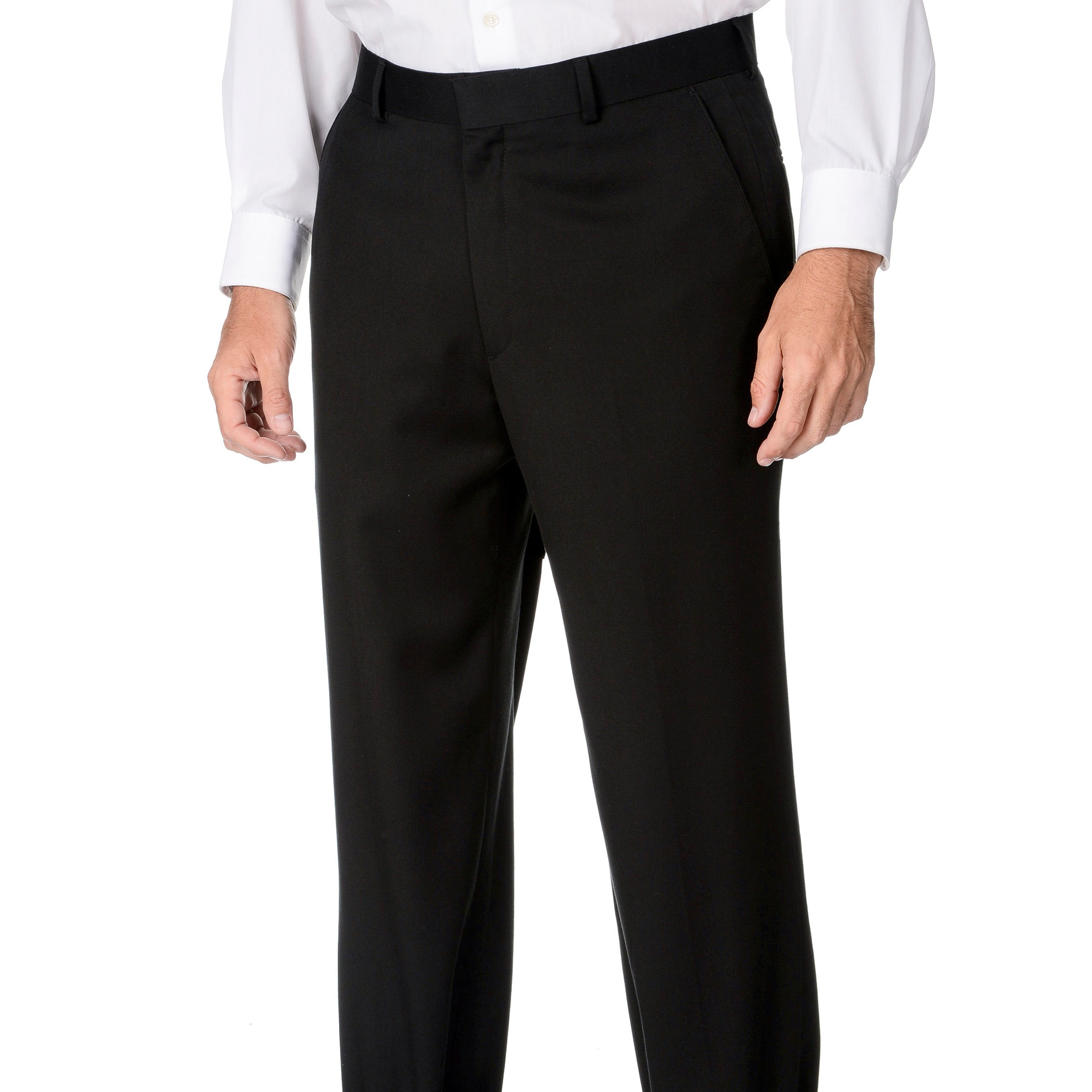 Overstock.com Marco Carelli Men's Black Flat-front Suit Separate Dress Pants at Sears.com