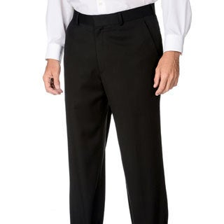 Marco Carelli Men's Black Flat-front Suit Separate Dress Pants
