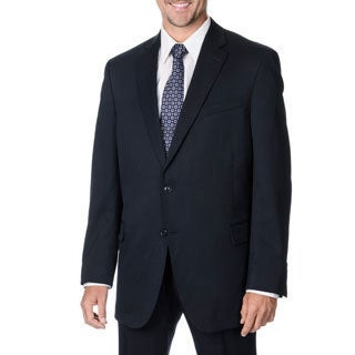 Henry Grethel Men's Big & Tall Navy 2-button Suit Separate Wool Blazer