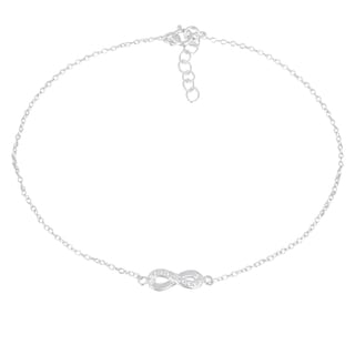 DB Designs Sterling Silver Diamond Accent Infinity Anklet