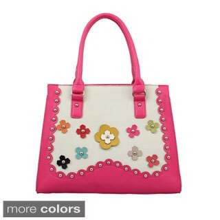 Mellow World 'Orchid' Flower Applique Structured Tote