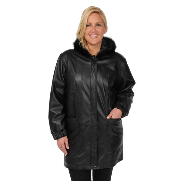 EXcelled Women's Plus Size Lambskin Walking Coat with Faux Fur Hood