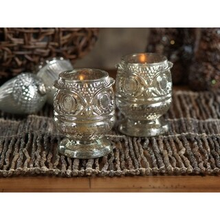 Antique Silver Glass Owl Votive Holder (Set of 4)
