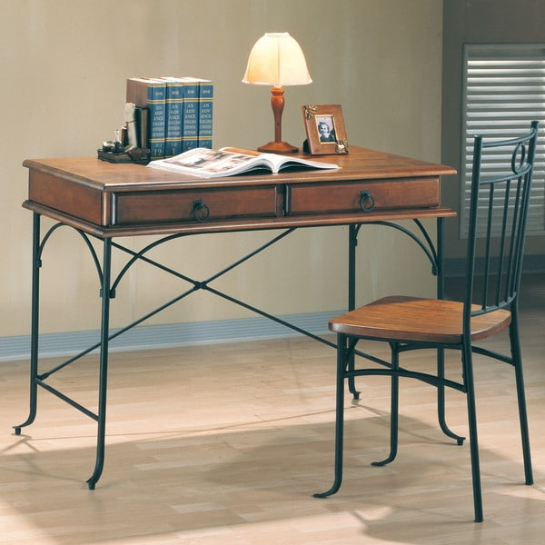 2-piece Wood and Metal Desk Set