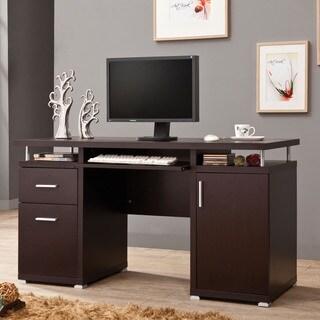 Contemporary White/ Cappuccino Computer Desk