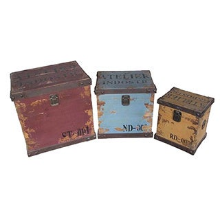Wald Imports Assorted Distressed Storage Chests (Set of 3)