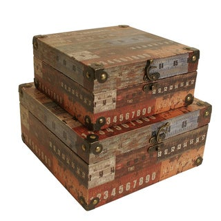 Ruler design storage boxes set of 2 overstock shopping - Decorative trunks and boxes ...