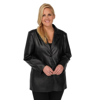 Excelled Women's Plus Size Black Leather 2-button Blazer