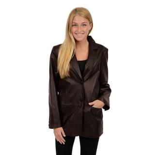 Excelled Women's Black Leather 2-button Blazer