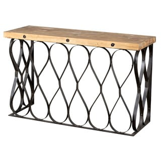 Steel Loop and Teak Wood Console Table (India)