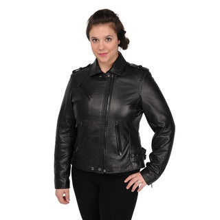 Women's Black Lambskin Motorcycle Jacket