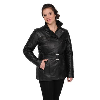 Excelled Women's Black Lambskin Leather Belted Jacket