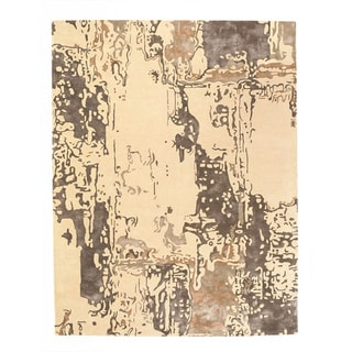 Hand-tufted Tempera Taupe/ Tan Wool Rug (8' x 10')
