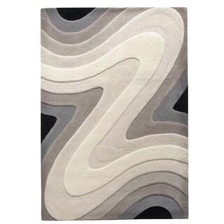 Hand-tufted Resonace Black/White/Grey Wool Rug (8' x 10')