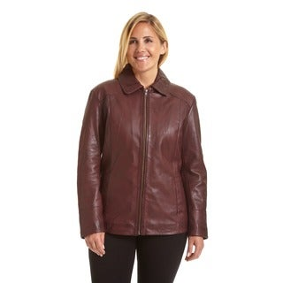 Excelled Women's Plus Lambskin Leather Scuba Jacket