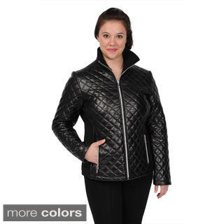 EXcelled Women's Leather Diagonal-quilted Scuba Jacket