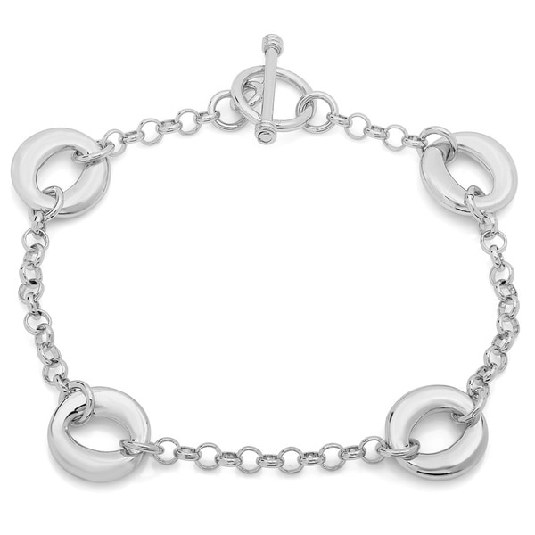 Sterling Essentials Sterling Silver Solid Oval Link Toggle Bracelet