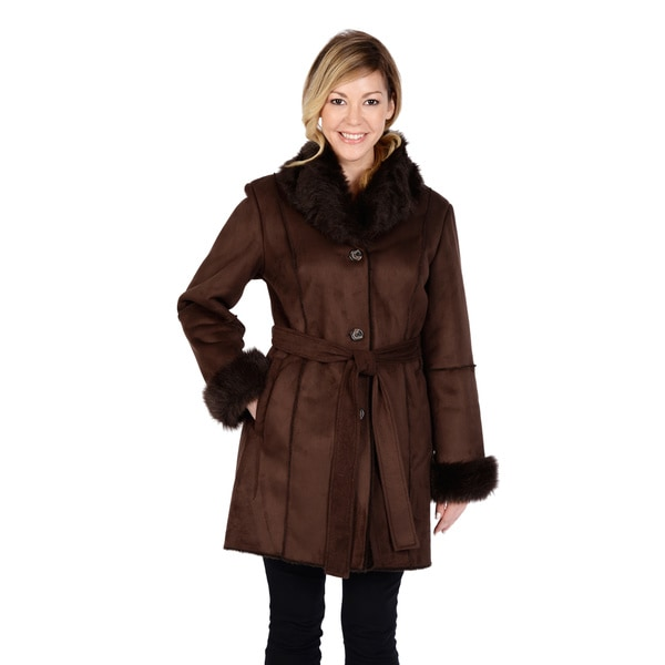 Excelled Women's Faux Shearling Long Belted Jacket