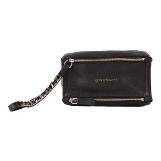 Givenchy 'Pandora' Black Leather Wristlet Bag