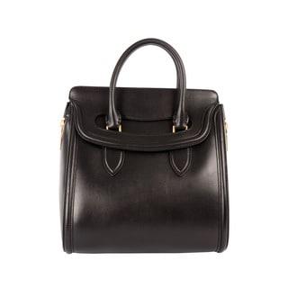 Alexander McQueen 'Heroine' Medium Black Leather Flap-top Tote
